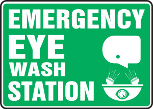 "Safety Sign: Emergency Eye Wash Station, 10"" x 14"", Pack/10"