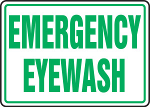 "Safety Sign: Emergency Eyewash, 10"" x 14"", Pack/10"