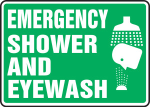 "Safety Sign: Emergency Shower And Eyewash, 10"" x 14"", Pack/10"