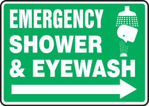 "Safety Sign: Emergency Shower & Eyewash (Right Arrow), 10"" x 14"", Pack/10"