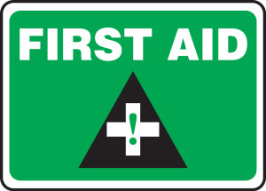 """Safety Sign: First Aid, 10"""" x 14"""", Pack/10"""