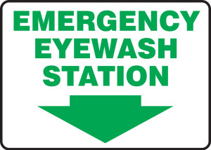 "Safety Sign: Emergency Eyewash Station, 10"" x 14"", Pack/10"