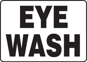 """Safety Sign: Eye Wash, 10"""" x 14"""", Pack/10"""