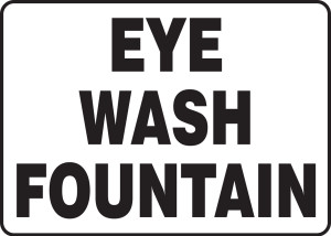 "Safety Sign: Eye Wash Fountain, 10"" x 14"", Pack/10"