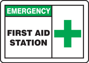 "Emergency Safety Sign: First Aid Station, 10"" x 14"", Pack/10"