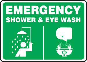 "Emergency Safety Sign: Shower & Eye Wash, 10"" x 14"", Pack/10"