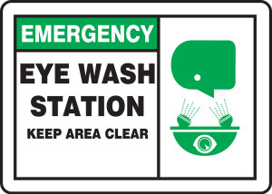 "Emergency Safety Sign: Eye Wash Station - Keep Area Clear, 10"" x 14"", Pack/10"