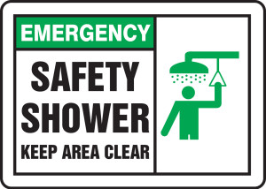 """Emergency Safety Sign: Safety Shower - Keep Area Clear, 10"""" x 14"""", Pack/10"""