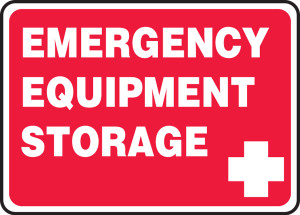 "Safety Sign: Emergency Equipment Storage, 10"" x 14"", Pack/10"