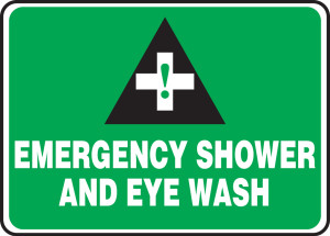 "Safety Sign: Emergency Shower And Eye Wash, 10"" x 14"", Pack/10"