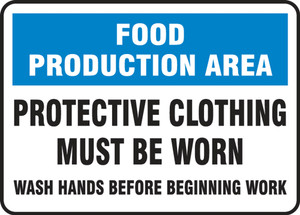 "Safety Signs: Food Production Area - Protective Clothing Must Be Worn, 10"" x 14"", Pack/10"