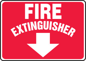 "Safety Sign: Fire Extinguisher, 10"" x 14"", Pack/10"