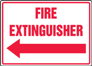 """Safety Sign: Fire Extinguisher (Left Arrow), 10"""" x 14"""", Pack/10"""
