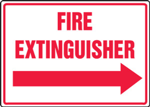 """Safety Sign: Fire Extinguisher (Right Arrow), 10"""" x 14"""", Pack/10"""