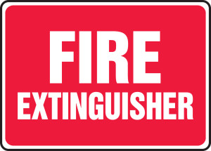 """Safety Sign: Fire Extinguisher (Red Background), 10"""" x 14"""", Pack/10"""