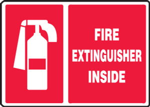 """Safety Sign: Fire Extinguisher Inside (Graphic), 10"""" x 14"""", Pack/10"""