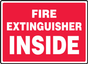 """Safety Sign: Fire Extinguisher Inside (Red Background), 10"""" x 14"""", Pack/10"""