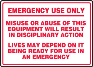 "Fire Safety Sign: Emergency Use Only, 10"" x 14"", Pack/10"