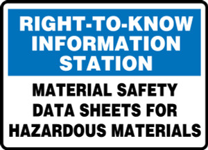 "Right-To-Know Information Station Safety Sign: Material Data Sheets For Hazardous Materials, 10"" x 14"", Pack/10"
