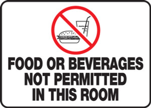 """Safety Sign: Food Or Beverages Not Permitted In This Room, 10"""" x 14"""", Pack/10"""