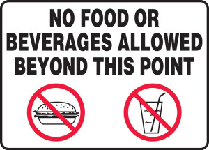 """Safety Sign: No Food Or Beverages Allowed Beyond This Point, 10"""" x 14"""", Pack/10"""