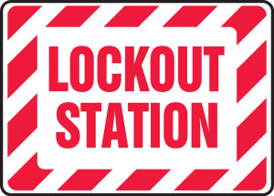 """Safety Sign: Lockout Station, 10"""" x 14"""", Pack/10"""