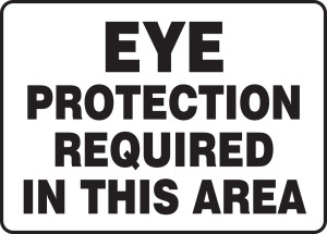 """Safety Sign: Eye Protection Required In This Area, 10"""" x 14"""", Pack/10"""