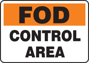 "FOD Signs: Control Area, 10"" x 14"", Pack/10"
