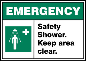 "ANSI ISO Emergency Safety Sign: Safety Shower - Keep Area Clear, 10"" x 14"", Pack/10"