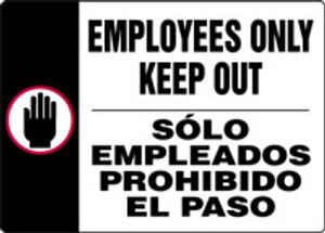 """Bilingual Safety Sign: Employees Only Keep Out, 10"""" x 14"""", Pack/10"""