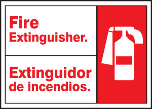 "Bilingual ANSI Safety Sign: Fire Extinguisher, 10"" x 14"", Pack/10"