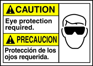 "Bilingual ANSI Safety Sign - CAUTION: Eye Protection Required, 10"" x 14"", Pack/10"