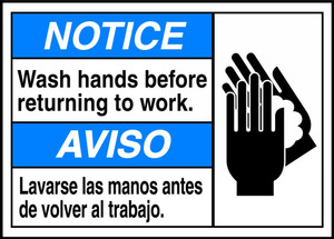 "Spanish (Mexican) Bilingual ANSI Notice Visual Alert Safety Sign: Wash Hands Before Returning To Work, 10"" x 14"", Pack/10"