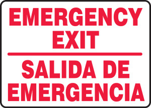 "Bilingual Safety Sign: Emergency Exit, 10"" x 14"", Pack/10"