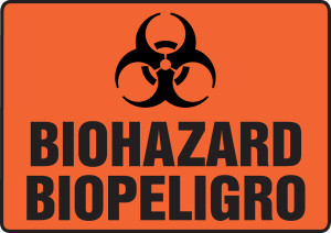 "Bilingual Safety Sign: Biohazard, 10"" x 14"", Pack/10"