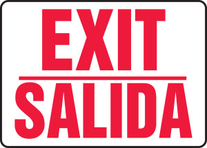 "Bilingual Safety Sign: Exit/Salida, 10"" x 14"", Pack/10"