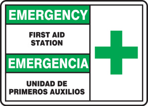 "Bilingual Emergency Safety Sign: First Aid Station, 10"" x 14"", Pack/10"