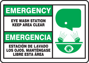 "Bilingual Emergency Safety Sign: Eye Wash Station - Keep Area Clear, 10"" x 14"", Pack/10"