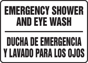 "Bilingual Safety Sign: Emergency Shower And Eyewash, 10"" x 14"", Pack/10"