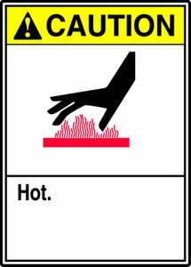 "ANSI Safety Sign - CAUTION: Hot, 14"" x 10"", Pack/10"
