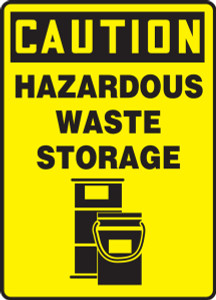 "OSHA Safety Sign - CAUTION: Hazardous Waste Storage, 14"" x 10"", Pack/10"