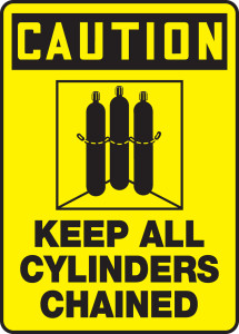 """OSHA Safety Sign - CAUTION: Keep All Cylinders Chained, 14"""" x 10"""", Pack/10"""