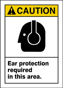 "ANSI Safety Sign - CAUTION: Ear Protection Required In This Area., 14"" x 10"", Pack/10"