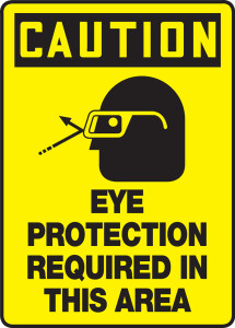 """OSHA Safety Sign - CAUTION: Eye Protection Required In This Area, 14"""" x 10"""", Pack/10"""