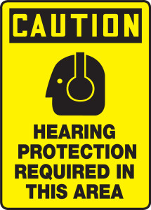 "OSHA Safety Sign - CAUTION: Hearing Protection Required In This Area, 14"" x 10"", Pack/10"