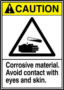 "ANSI Safety Sign - CAUTION: Corrosive Material - Avoid Contact With Eyes And Skin, 14"" x 10"", Pack/10"