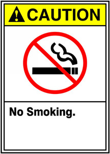 "ANSI Safety Sign - CAUTION: No Smoking, 14"" x 10"", Pack/10"