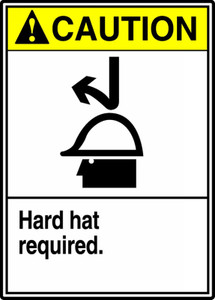 "ANSI Safety Sign - CAUTION: Hard Hat Required, 14"" x 10"", Pack/10"