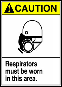 "ANSI Safety Sign - CAUTION: Respirators Must Be Worn In This Area., 14"" x 10"", Pack/10"