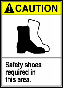 "ANSI Safety Sign - CAUTION: Safety Shoes Required In This Area, 14"" x 10"", Pack/10"